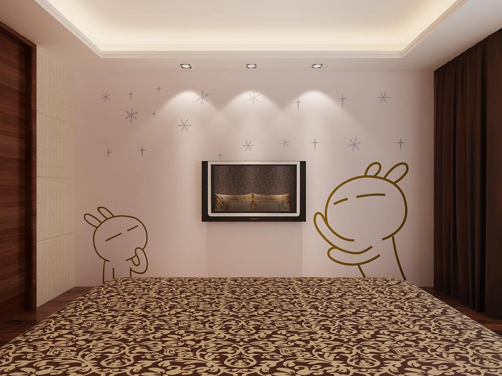 调皮的小兔子,浑圆白胖的样子就像棉花糖一般,使整个房间富有童趣。