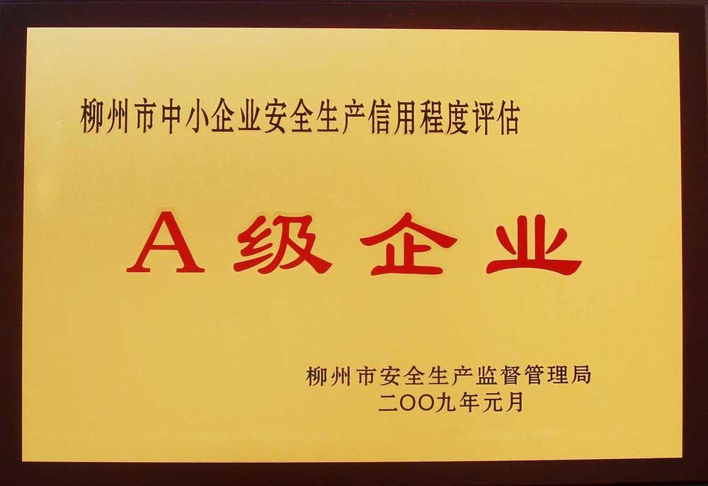 """2009年,龙湾酒厂荣获 """"柳州市中小企业安全生产信誉水平评A级企业""""称呼"""