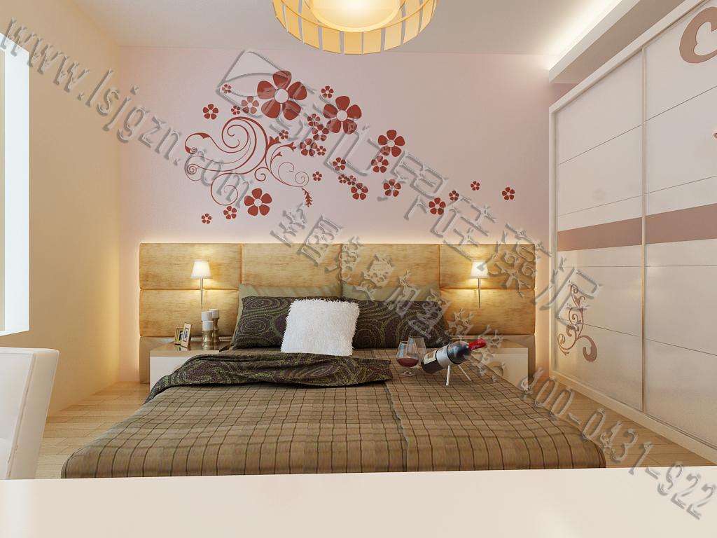 简单的线条、花瓣,寥寥数个就给您一个明媚的卧室。