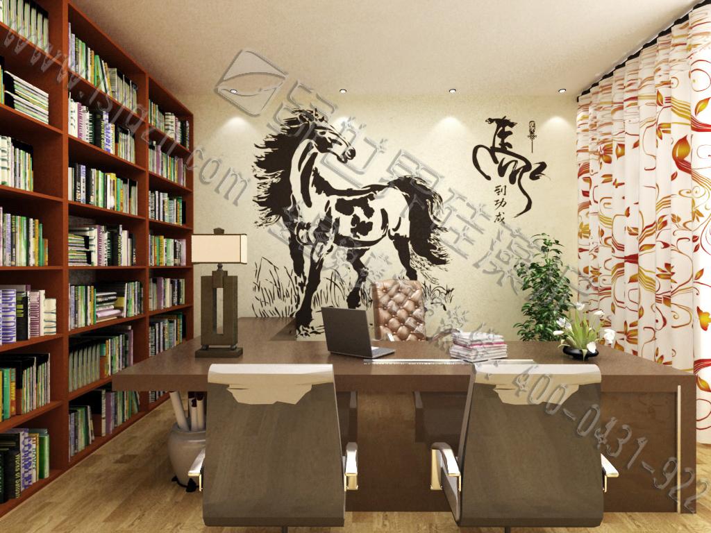 墨色的墙壁浓淡有致,既表现了马的体型,又不影响墨色的韵味,飘逸灵动。
